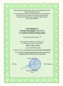 стажерская площадка сертификат 2018